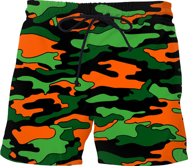 """Orange & Green Camo"" Swim Shorts"