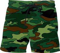 Green & Brown Camouflage Swim Shorts