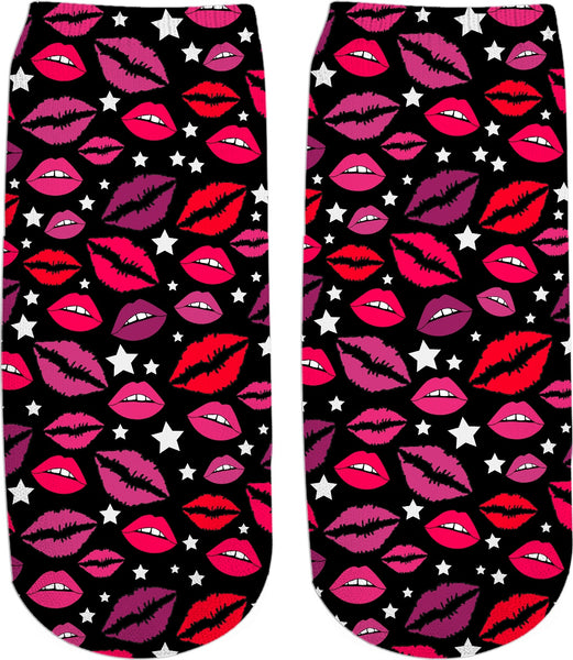 Lips & Stars Black Ankle Socks