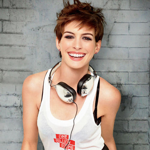 Anne Hathaway With Skullcandy Headphones