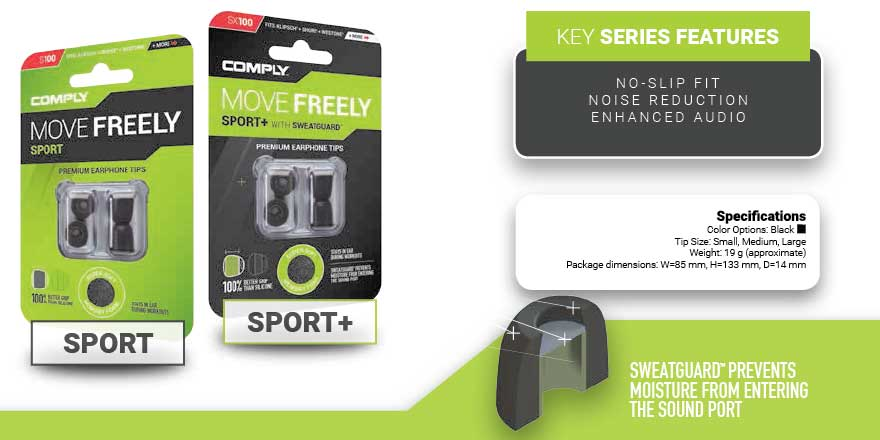 Buy Comply Foam Eartips for sport series from headphonezone.in