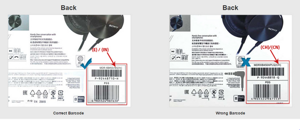 Correct Barcode on Original Sony