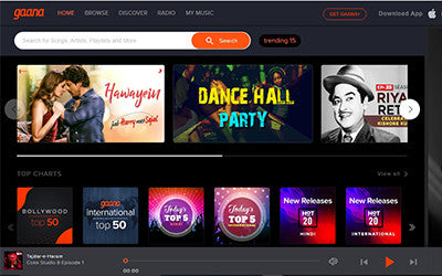 Headphone Zone Gaana.com interface