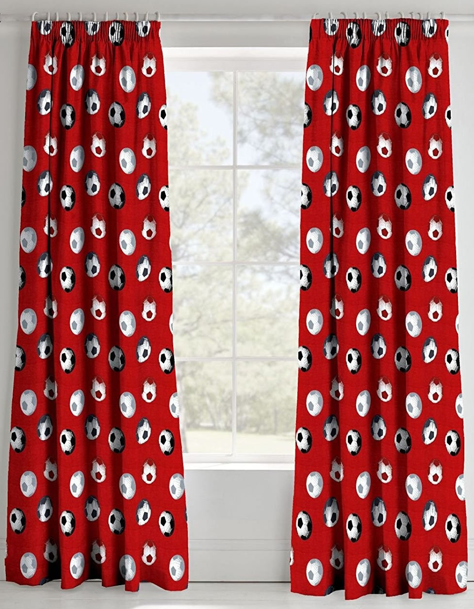 SOCCER ~ Red Ready Made Lined Curtains