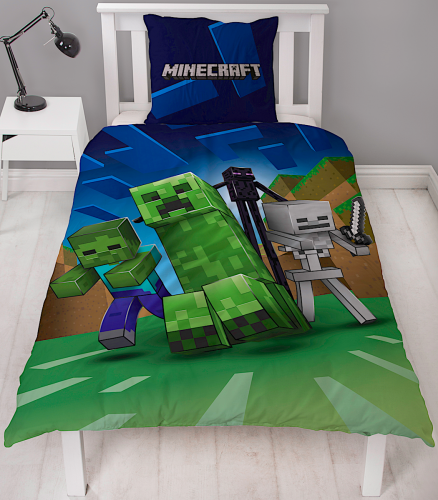 MINECRAFT ~ 'Creeps' Single Bed Quilt Cover Set