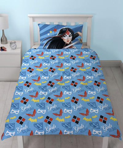 DC COMICS ~ 'Superhero Girls' Single Bed Quilt Cover Set