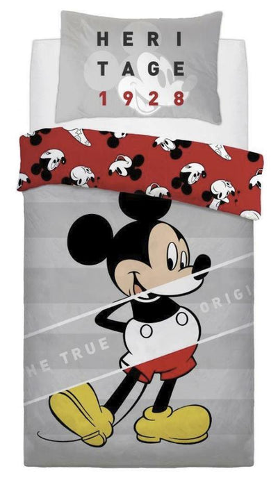 MICKEY MOUSE ~ 'True' Single Bed Reversible Quilt Set