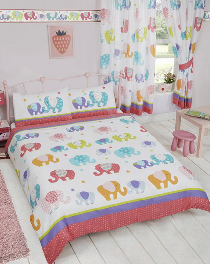 PATCHWORK ELEPHANT ~ Double/Queen Bed Reversible Quilt Cover Set
