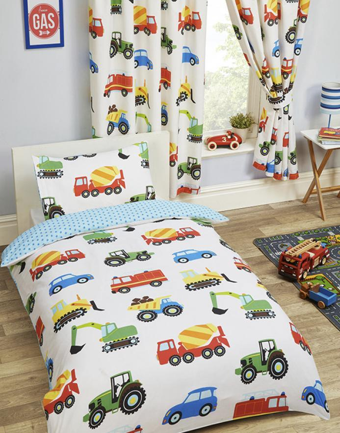 TRUCKS & TRANSPORT ~ Toddler/Cot Bed Quilt Cover Set