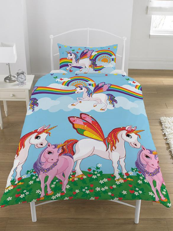 RAINBOW UNICORNS ~ Single Bed Quilt Cover Set