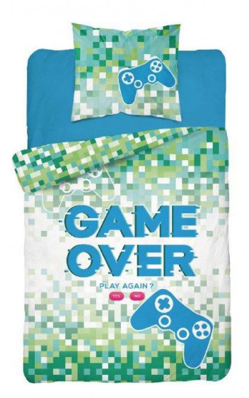 GAME OVER ~ Glow In The Dark Single Bed Quilt Cover Set