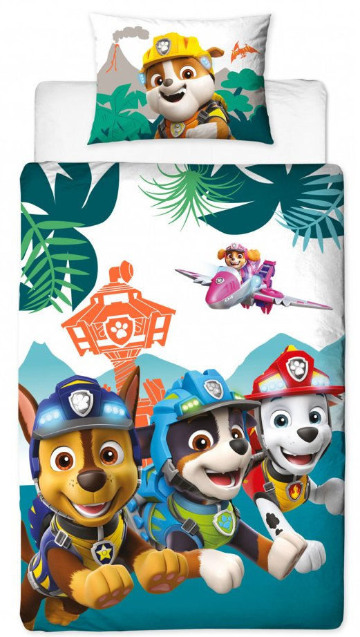 PAW PATROL ~ 'Dino' Single Bed Reversible Panel Quilt Set