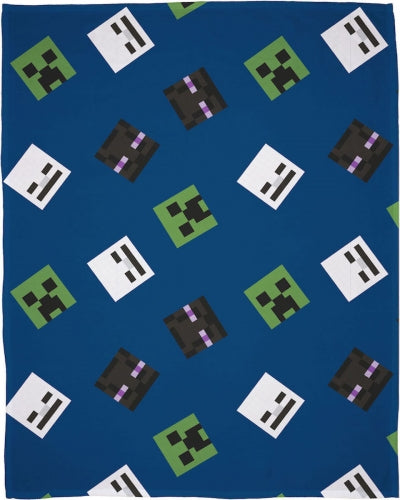 MINECRAFT ~ 'Creeps' Coral Fleece Blanket