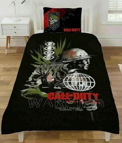 CALL OF DUTY ~ 'Warning' Single Bed Panel Quilt Cover Set