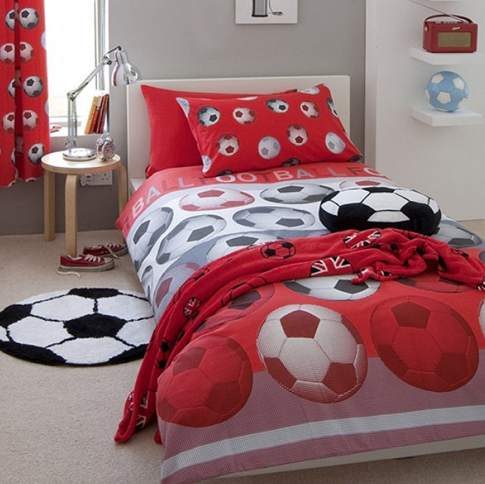 SOCCER ~ Red Double/Queen Bed Quilt Cover Set