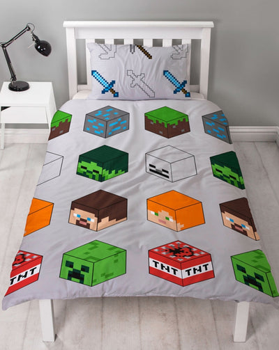 MINECRAFT ~ 'Pixel' Single Bed Quilt Cover Set