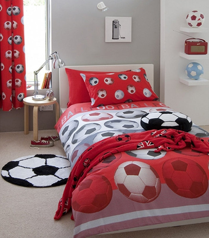 SOCCER ~ Red Single Bed Quilt Cover Set