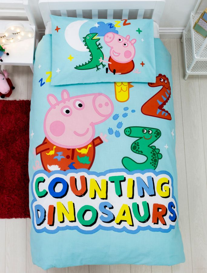 GEORGE PIG ~ 'Counting' Toddler/Cot Bed Quilt Cover Set