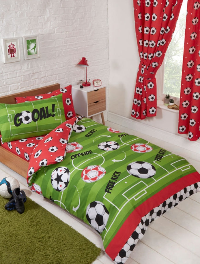 SOCCER ~ 'Red Goal' Toddler/Cot Bed Quilt Cover Set