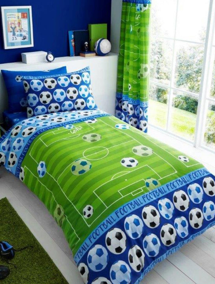 SOCCER ~ 'Blue Pitch' Single Bed Quilt Cover Set