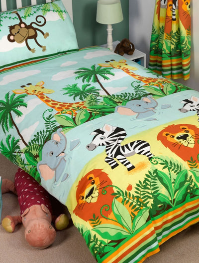 JUNGLE-TASTIC ~ Toddler/Cot Bed Quilt Cover Set