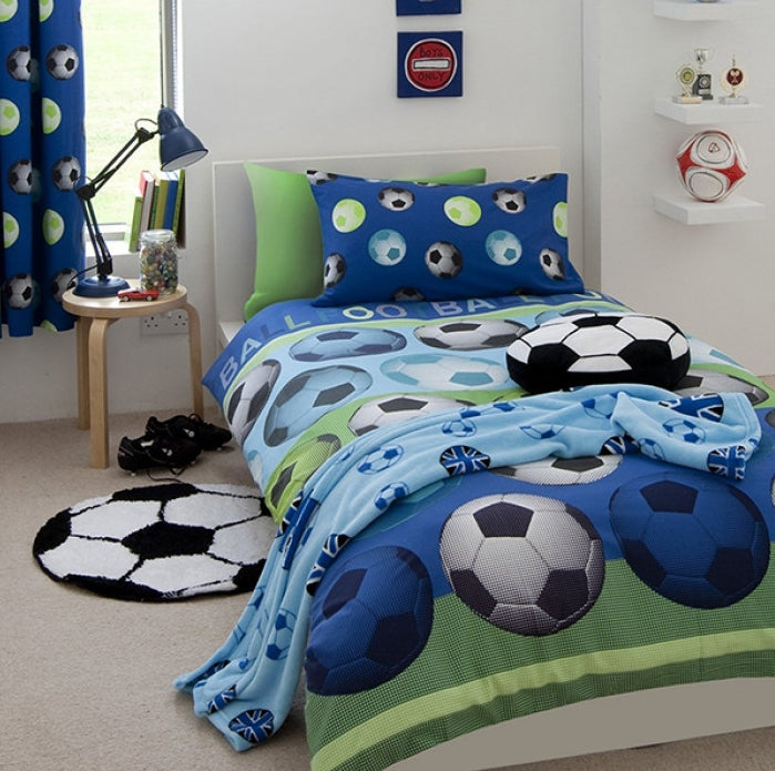 SOCCER ~ Blue Double/Queen Bed Quilt Cover Set