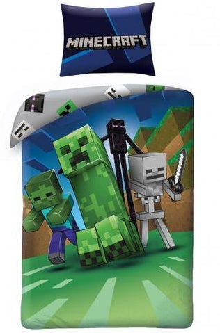 MINECRAFT ~ 'Creeps' Single Bed Panel Quilt Cover Set