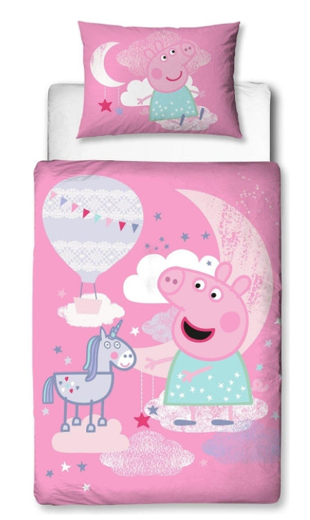 PEPPA PIG ~ 'Stardust' Toddler/Cot Bed Quilt Cover Set