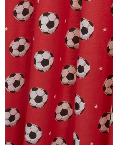 SOCCER ~ Red Ready Made Lined Curtains With Tie Backs
