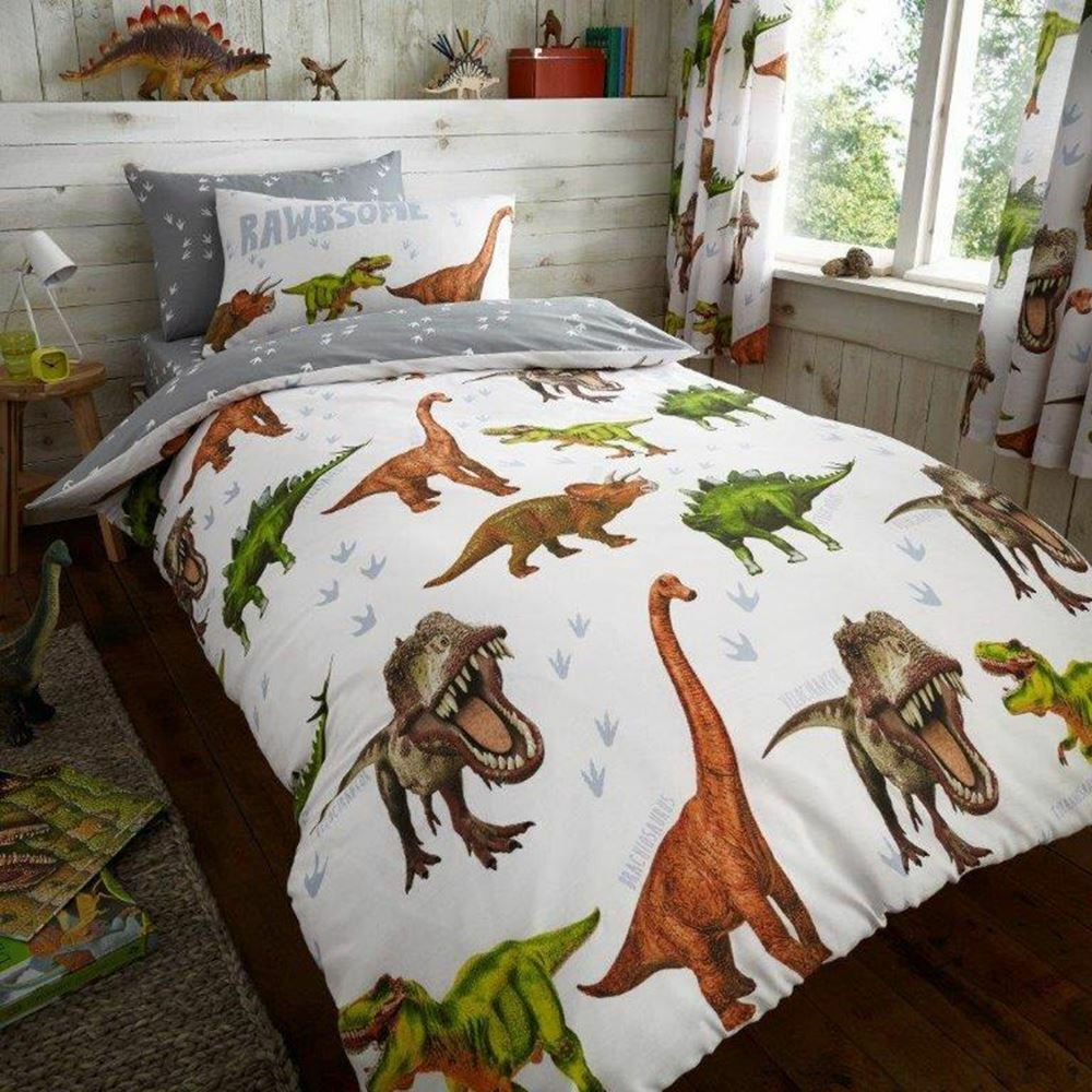 DINOSAUR ~ 'Rawrsome' Single Bed Quilt Cover Set