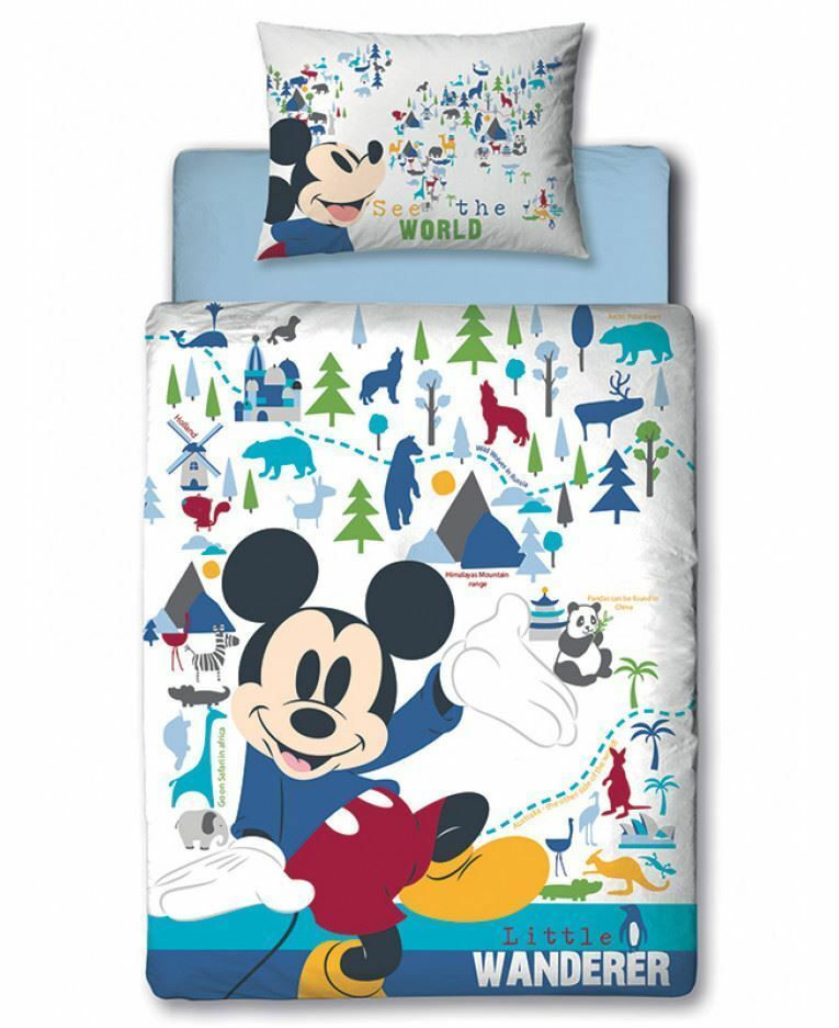 MICKEY MOUSE ~ 'Wanderer' Toddler/Cot Bed Panel Quilt Set