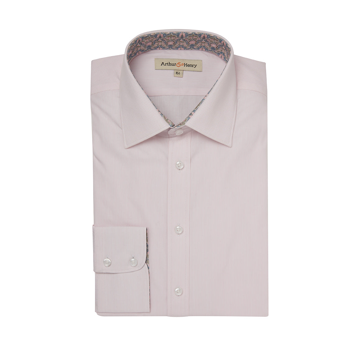 Men's pink organic cotton shirt with William Morris print trim