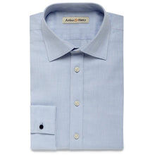Load image into Gallery viewer, blue herringbone mens shirt, organic fair trade cotton