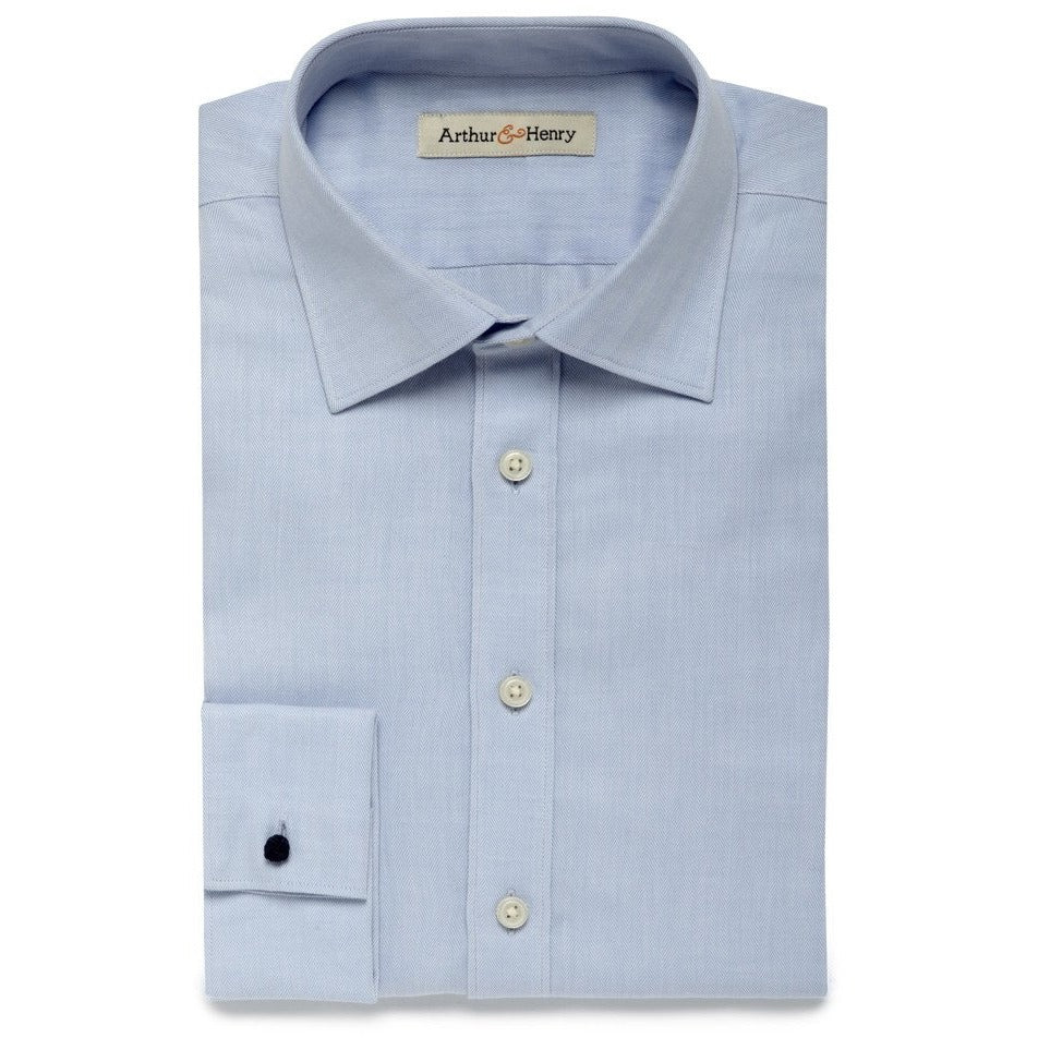 blue herringbone mens shirt, organic fair trade cotton
