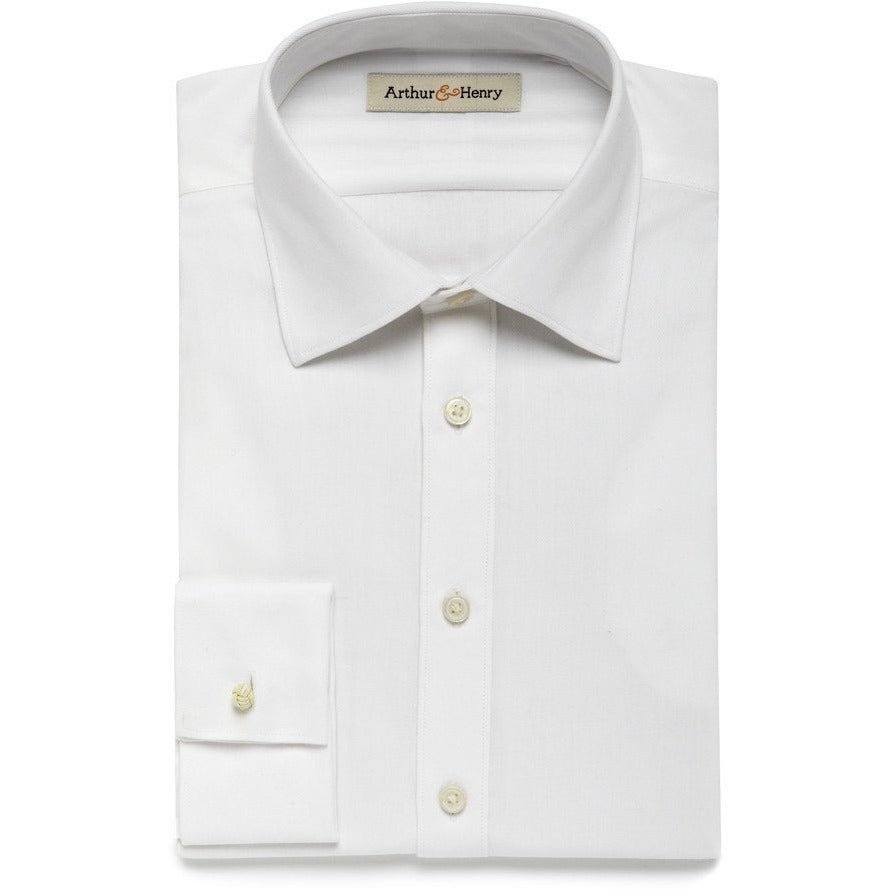 white herringbone organic shirt