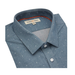 Mid Blue Spot Organic Cotton Shirt