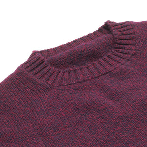 Dean - Soft Chunky Knit Lambswool Crew Neck Jumper - Burgundy