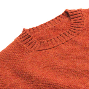 Dean - Soft Lambswool Crew Neck Jumper - Burnt Orange