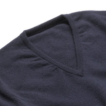 Load image into Gallery viewer, Lambswool V-Neck Jumper - Navy