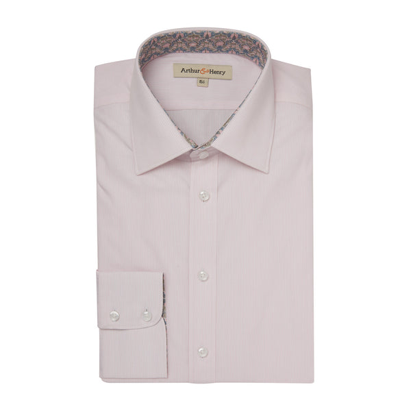 Pink Stripe Organic Cotton Shirt With Trim