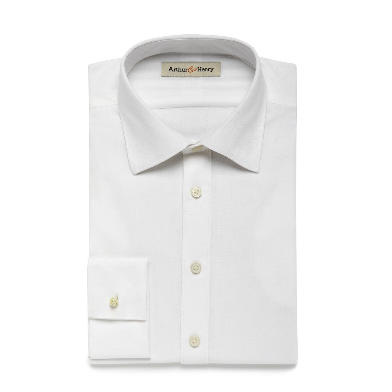 White Herringbone Men's Organic Shirt