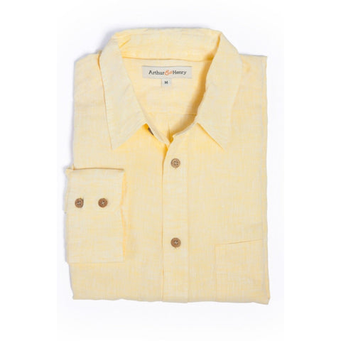 Yellow Chambray Men's Linen Shirt