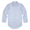 Sleeves open blue white stripe men's linen shirt