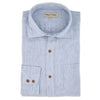 Blue white stripe men's linen shirt. Ethical menswear.