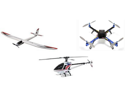 Different types of  RC aircraft