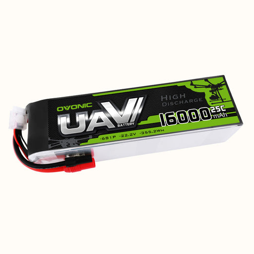 OVONIC 6S 22.2V 16000mAh 25C LiPo Battery Pack with AS150 Plug for UAV Drone