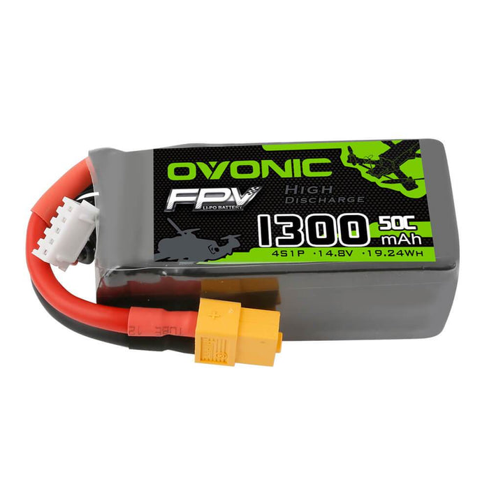OVONIC 1300mAh 4S 14.8V 50C Lipo Battery with XT60 Plug for FPV
