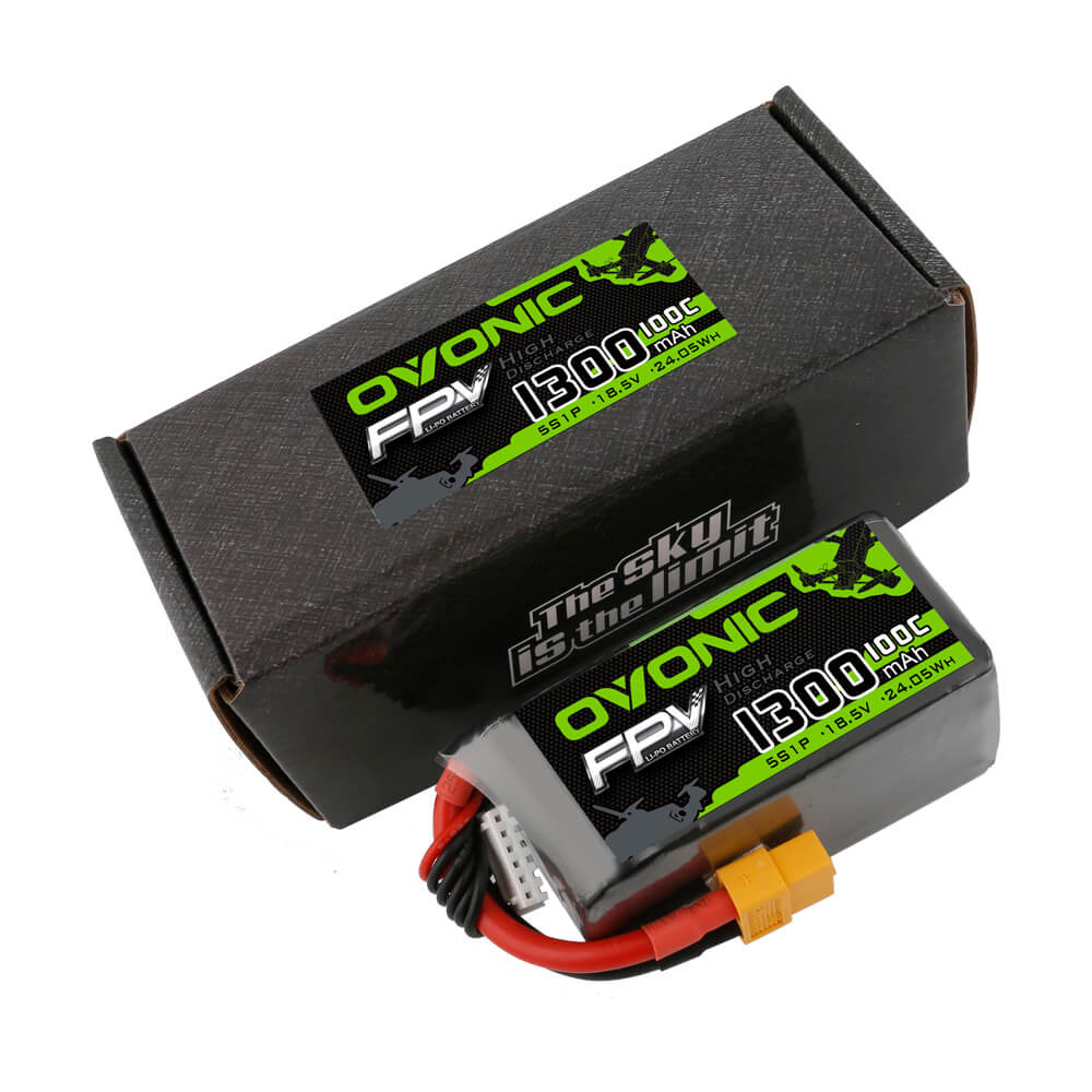 OVONIC 18.5V 1300mAh 5S 100C LiPo Battery Pack with XT60 Plug for FPV