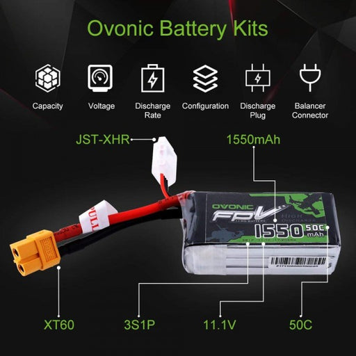OVONIC 11.1V 1550mAh 3S 50C LiPo Battery Pack with XT60 Plug for Skylark QAV 250 Vortex Drone