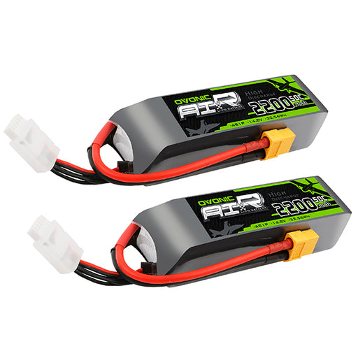 OVONIC 4S 2200mAh 14.8V 50C Lipo Battery with XT60 Plug for RC Aircraft[2 Packs]